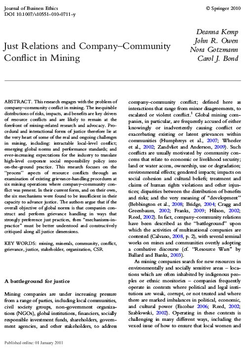 Just Relations and Company–Community Conflict in Mining Article Cover